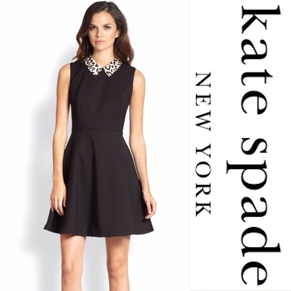 e448b775bf kate spade Dresses   Skirts - Kate Spade Rissa Leopard Collar Fit   Flare  Dress